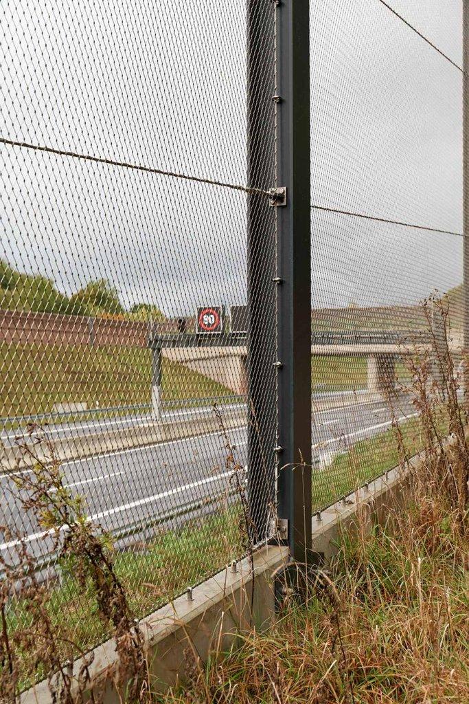 Robust stolpe med vajernät som skydd för djur vid motorväg