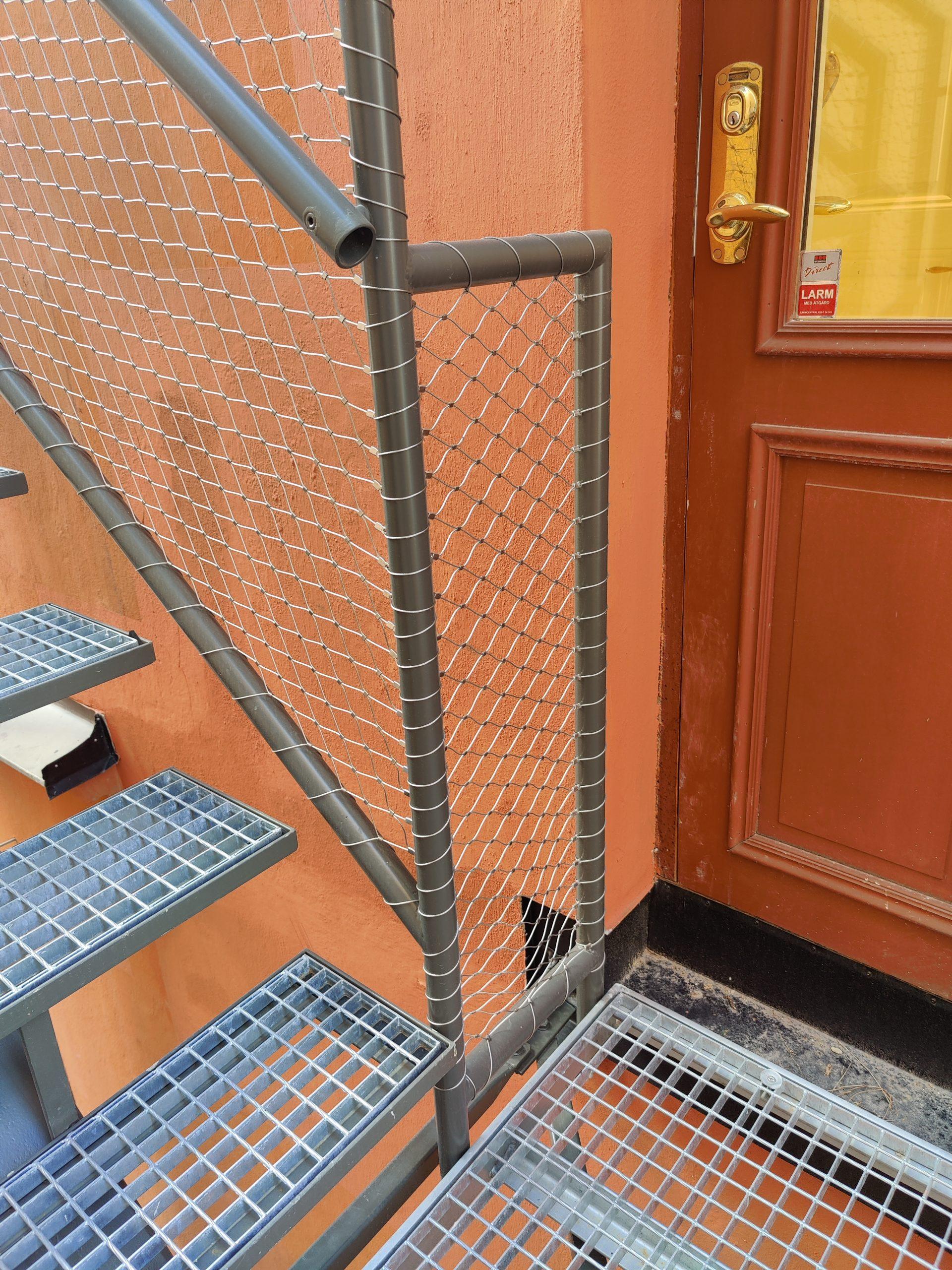 Vajrar i rostfritt stål som används som räcke